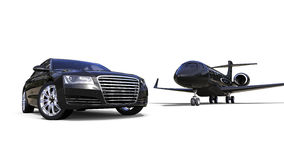 Rich People Rides. 3D render image representing a rich people transportation vehicles stock illustration