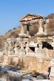 Rich people roman villa ruins with stone columns row in ephesus Royalty Free Stock Photo