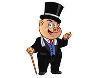 Rich Pig Mascot. Vector Cartoon of Fancy Pig Cartoon Mascot Royalty Free Stock Photography