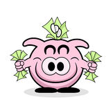 Rich Piggy Bank. With lots of money Royalty Free Stock Image