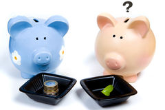 A rich piggy bank and his hungry friend Stock Images
