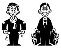 Rich And Poor. Black and white illustration of a poor and a rich man stock illustration