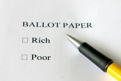 Rich or poor. A vote for rich or poor - your choice royalty free stock photo