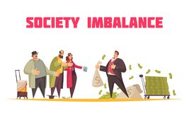 Rich Poor Imbalance Composition. Society imbalance flat cartoon horizontal composition with rich man holding sack dollars and poor beggars vector illustration stock illustration