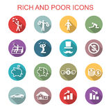 Rich and poor long shadow icons. Flat vector symbols Royalty Free Stock Image