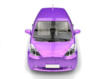 Rich purple metallic small urban modern electric car - top front view Royalty Free Stock Images