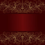 Rich red Background with elegant golden Borders and Place for Text Royalty Free Stock Images