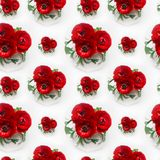 Rich red buttercup flowers bouquet in white vase as seamless pattern. Elegance summer background. Stock Images