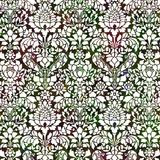 Rich red and green ornate background. Rich red and green ornate white patterned background Stock Photo
