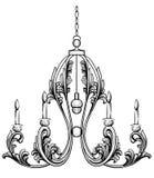 Rich Rococo Classic chandelier. Luxury decor accessory design. Vector illustration sketch Stock Photography