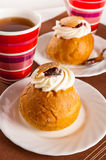 Rich rolls with a cream, a close up Royalty Free Stock Photo