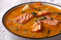 Rich salmon soup with thyme macro in a white bowl. horizontal Stock Photography
