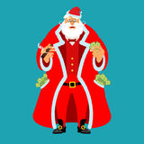 Rich Santa Claus and lot of money. Pocketful of cash. Earnings f. Or Christmas. Cool old man after work. Xmas income. New Year emolument wealth royalty free illustration