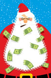 Rich Santa Claus. Many money in his beard. Santa brought Us doll Royalty Free Stock Images