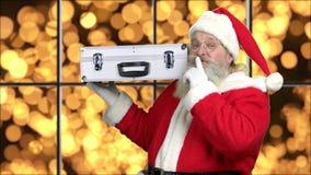 Rich Santa Claus på guld- bokehbakgrund lager videofilmer
