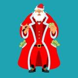 Rich Santa Claus und Los Geld Taschevoll Bargeld Einkommen f lizenzfreie abbildung