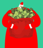 Rich santa and red bag with money. Claus sack of cash. Expensive Stock Photos