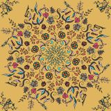 Rich with saturated colors, beautiful medieval ornament. Seamless floral pattern of circular floral elements. Vector design of man. Dalas. Template for textiles Stock Images