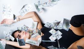 Free Rich Sexy Woman Lies On Money. Currency, Women, Winning. Sexy Female And Dollar Bills. Sexy Woman Lying In Dollar Bills Stock Photo - 143984400