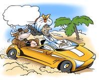 A rich sheik take a drive with a sacred cow Royalty Free Stock Photo