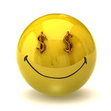 Rich smiley. Computer graphics illustration of rich smiley stock illustration
