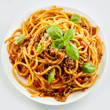 Rich spicy spaghetti Bolognaise with parmesan Stock Images