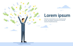 Rich Successful Business Man Throw Money. Flat Vector Illustration Royalty Free Stock Images