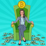 Rich Successful Business Woman Sitting on Throne with Bitcoin and Money Stacks. Crypto currency Market Concept Royalty Free Stock Photography