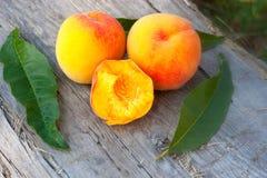 Rich summer peachs Royalty Free Stock Photos
