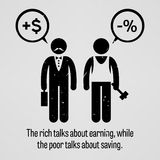 The rich talks about earning, while the poor talks about saving. A motivational and inspirational poster representing the proverb sayings, The rich talks about Royalty Free Stock Photo