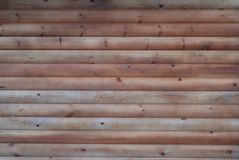 Rich Texture of Wooden Wall Made of Many thin long racks placed Horizontally, top view, Natural Rustic background royalty free stock photography