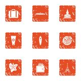 Rich vacationer icons set, grunge style. Rich vacationer icons set. Grunge set of 9 rich vacationer vector icons for web isolated on white background Stock Images