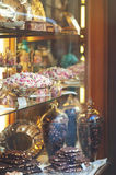 Rich variety of chocolates and candies in display window  of ita Royalty Free Stock Photography