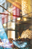 Rich variety of chocolates and candies in display window  of ita Stock Image