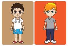 Rich vs Poor. An illustration of a rich kid versus a poor kid stock illustration