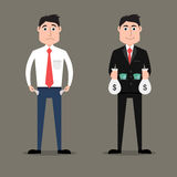 Rich vs poor businessman Stock Photography