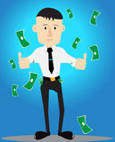 Rich and Wealthy Businessman Cartoon Illustration Royalty Free Stock Image