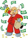 Rich Wealthy Ox. A colorful illustration of a rich wealthy ox in red Chinese costume, holding a money bag with money and coins in the background, ideal for the royalty free illustration