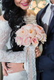 Rich wedding bouquet of Peony roses Stock Photos