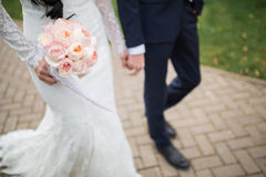 Rich wedding bouquet of Peony roses Stock Images