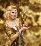 Rich Woman Champagne Glass, Retro Lady in Gold Dress Celebrating. Rich Woman with Champagne Glass, Retro Lady Celebrating in Shining Gold Dress, VIP Girl in royalty free stock photography