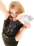 Rich woman showing euro currency money banknotes. Royalty Free Stock Photos