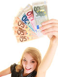 Rich woman showing euro currency money banknotes. Stock Photo