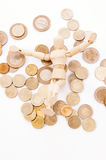 Rich wooden manikin saves money and happy Royalty Free Stock Images