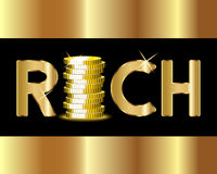 Rich word with golden coins Stock Photos
