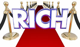 Rich Word Wealthy Money Red-Teppich-besondere Behandlung Lizenzfreies Stockbild