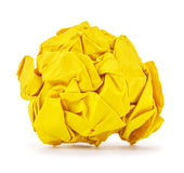 Rich yellow crumpled paper ball rolled Royalty Free Stock Images