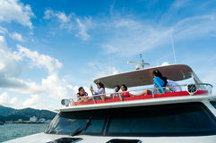 Rich Young people crusing on yacht Royalty Free Stock Photography