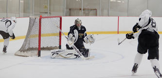 Richard Bachman Save. Richard Bachman stops the puck on Thomas Vincour during training camp Stock Photos