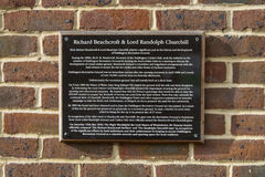 Richard Beachcroft and Lord Randolph Churchill Plaque Royalty Free Stock Images